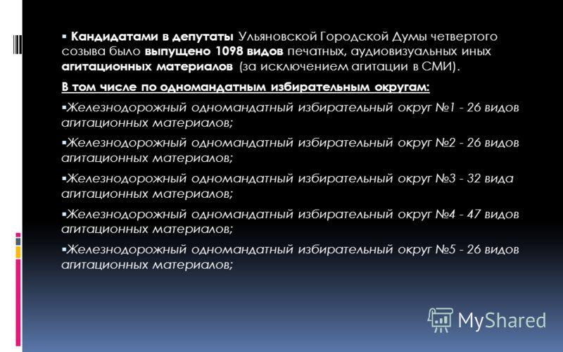 Кандидатами в депутаты Ульяновской Городской Думы четвертого созыва было выпущено 1098 видов печатных, аудиовизуальных иных агитационных материалов (за исключением агитации в СМИ). В том числе по одномандатным избирательным округам: Железнодорожный о
