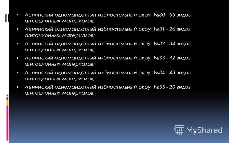 Ленинский одномандатный избирательный округ 30 - 55 видов агитационных материалов; Ленинский одномандатный избирательный округ 31 - 26 видов агитационных материалов; Ленинский одномандатный избирательный округ 32 - 34 видов агитационных материалов; Л
