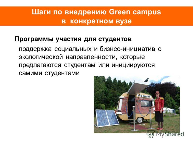Шаги по внедрению Green campus в конкретном вузе Программы участия для студентов поддержка социальных и бизнес-инициатив с экологической направленности, которые предлагаются студентам или инициируются самими студентами