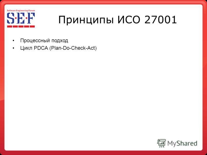 Принципы ИСО 27001 Процессный подход Цикл PDCA (Plan-Do-Check-Act)