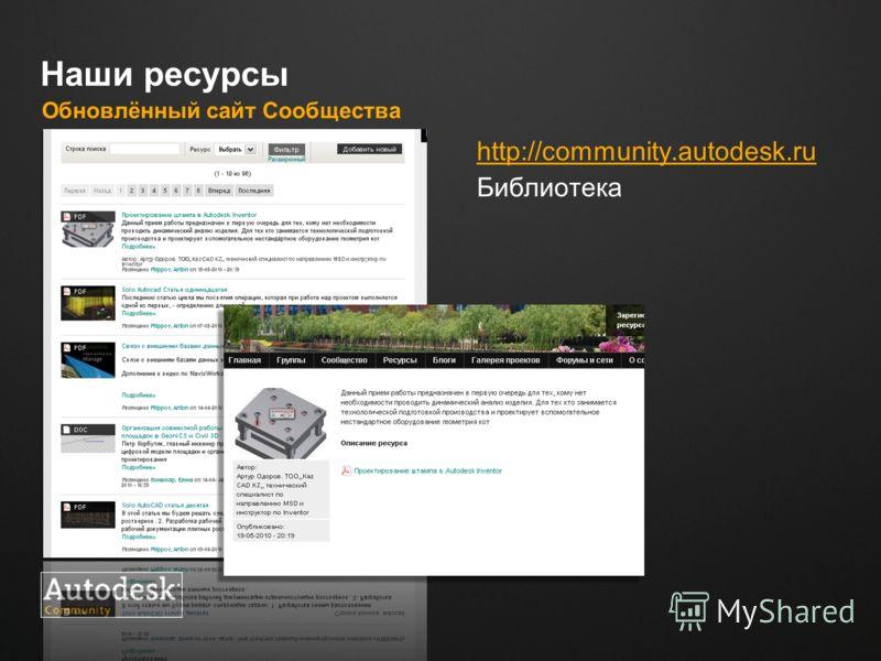 Место для логотипа Наши ресурсы Обновлённый сайт Сообщества http://сommunity.autodesk.ru Библиотека