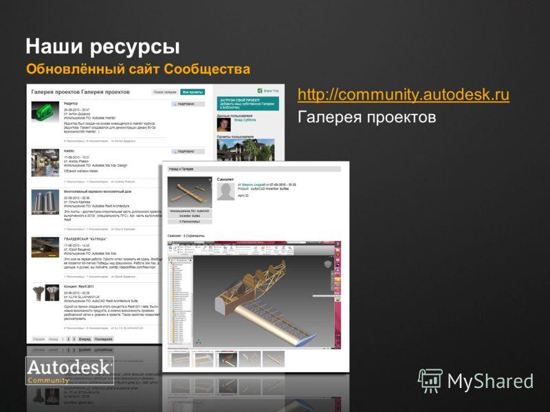 Место для логотипа Наши ресурсы Обновлённый сайт Сообщества http://сommunity.autodesk.ru Галерея проектов