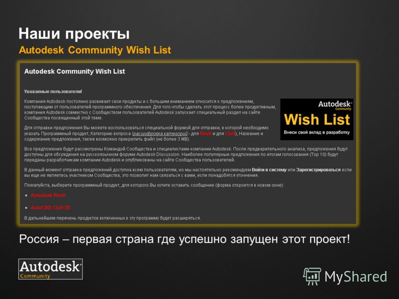 Место для логотипа Наши проекты Autodesk Community Wish List Россия – первая страна где успешно запущен этот проект!