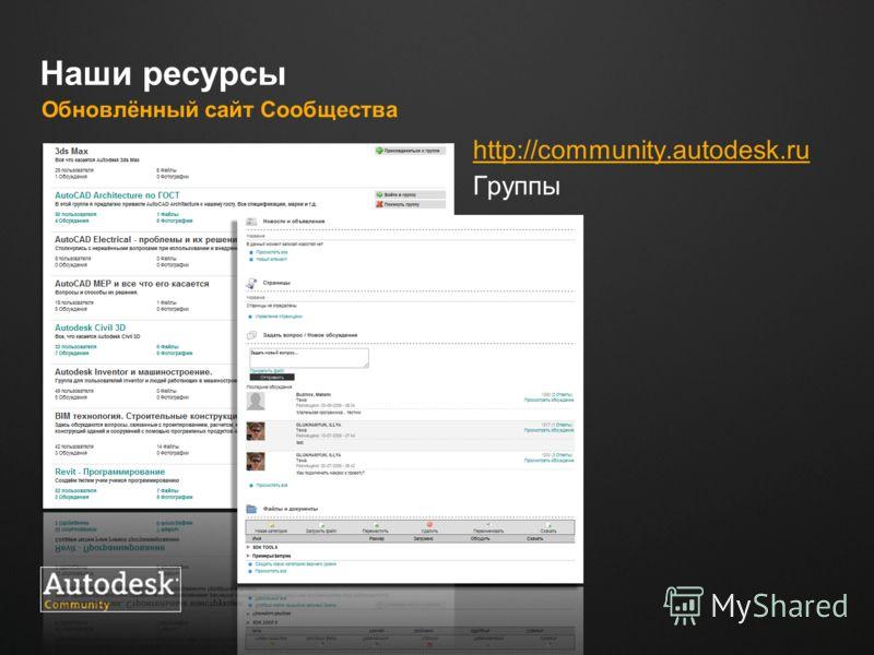 Место для логотипа Наши ресурсы Обновлённый сайт Сообщества http://сommunity.autodesk.ru Группы