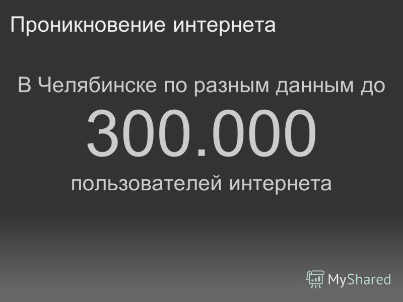 Проникновение интернета В Челябинске по разным данным до 300.000 пользователей интернета