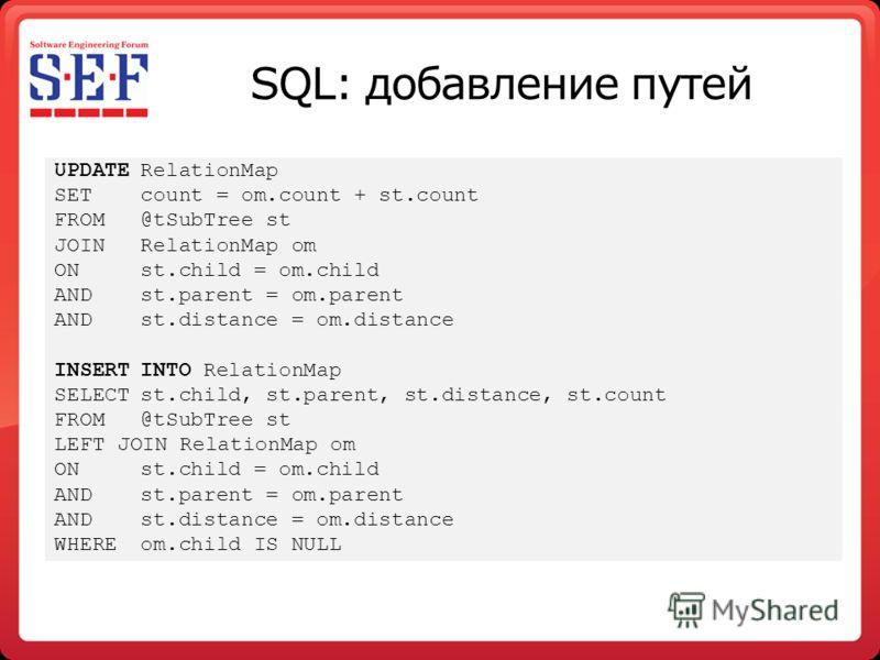 SQL: добавление путей UPDATERelationMap SETcount = om.count + st.count FROM@tSubTree st JOIN RelationMap om ONst.child = om.child ANDst.parent = om.parent ANDst.distance = om.distance INSERTINTO RelationMap SELECTst.child, st.parent, st.distance, st.