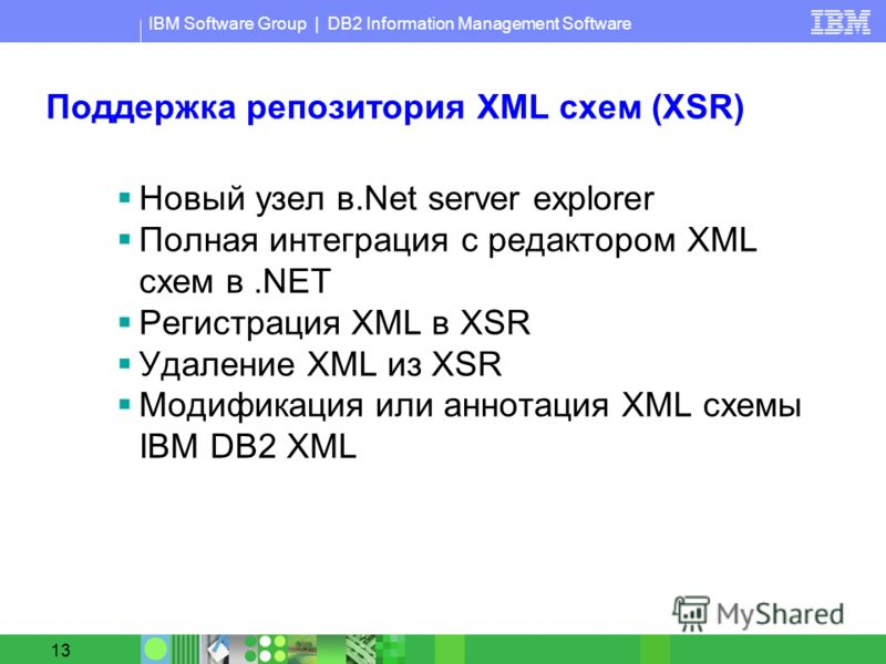 IBM Software Group | DB2 Information Management Software 13 Поддержка репозитория XML схем (XSR) Новый узел в.Net server explorer Полная интеграция с редактором XML схем в.NET Регистрация XML в XSR Удаление XML из XSR Модификация или аннотация XML сх