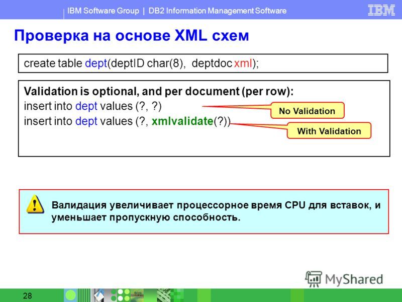IBM Software Group | DB2 Information Management Software 28 Проверка на основе XML схем create table dept(deptID char(8), deptdoc xml); Validation is optional, and per document (per row): insert into dept values (?, ?) insert into dept values (?, xml