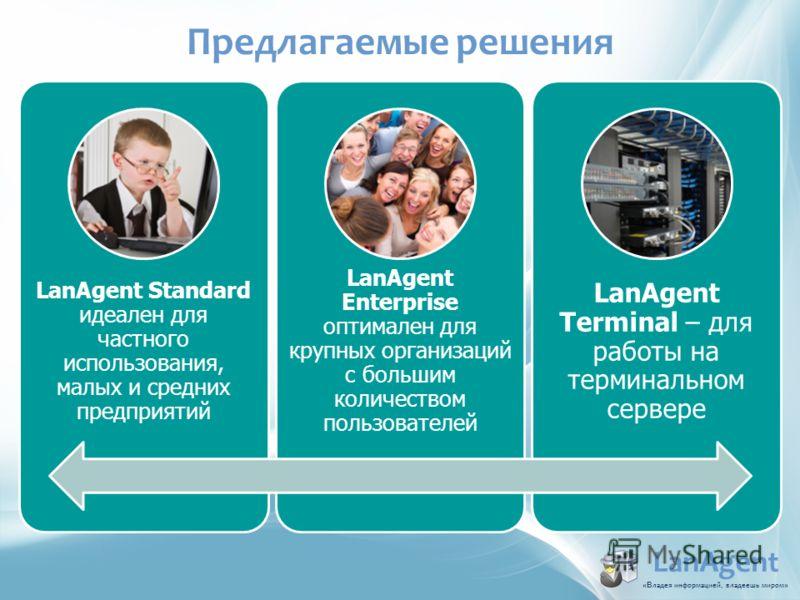 LanAgent Standard идеален для частного использования, малых и средних предприятий LanAgent Enterprise оптимален для крупных организаций с большим количеством пользователей LanAgent Terminal – для работы на терминальном сервере Предлагаемые решения