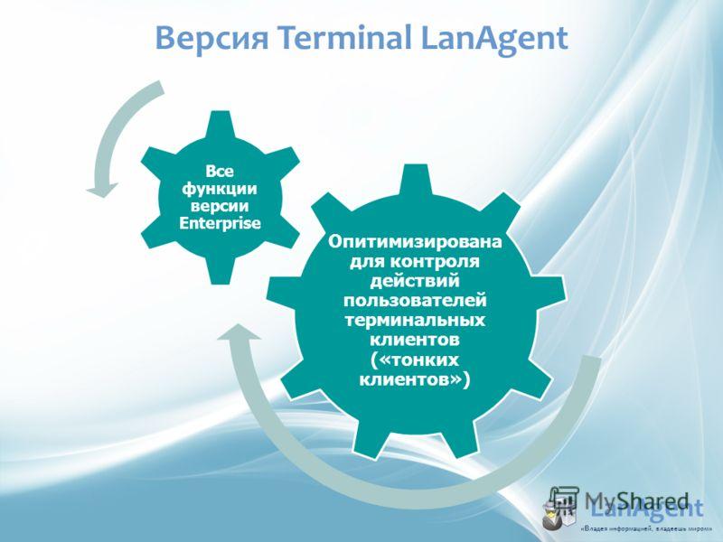 LanAgent «В ладья информацией, владеешь миром » Опитимизирована для контроля действий пользователей терминальных клиентов («тонких клиентов») Все функции версии Enterprise Версия Terminal LanAgent