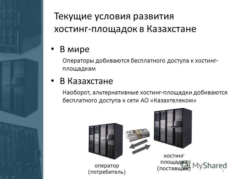 В мире Операторы добиваются бесплатного доступа к хостинг- площадкам В Казахстане Наоборот, альтернативные хостинг-площадки добиваются бесплатного доступа к сети АО «Казахтелеком» Текущие условия развития хостинг-площадок в Казахстане 6