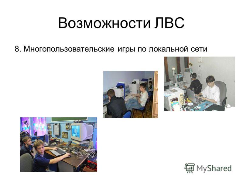 Возможности ЛВС 8. Многопользовательские игры по локальной сети