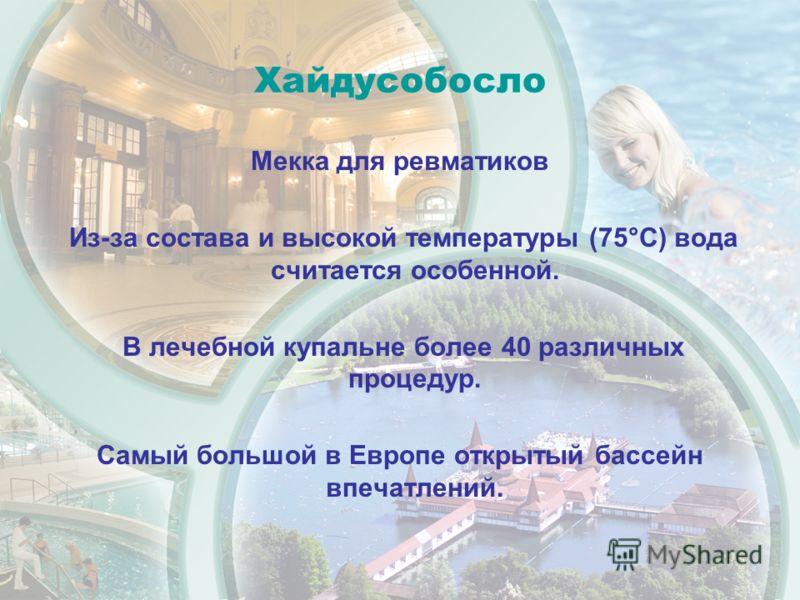 Хайдусобосло Мекка для ревматиков Из-за состава и высокой температуры (75°C) вода считается особенной. В лечебной купальне более 40 различных процедур. Самый большой в Европе открытый бассейн впечатлений.