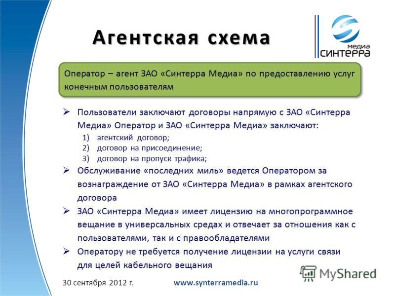 Агентская схема www.synterramedia.ru2 июля 2012 г.