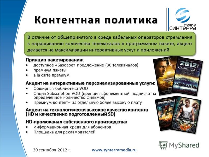 Контентная политика www.synterramedia.ru2 июля 2012 г.