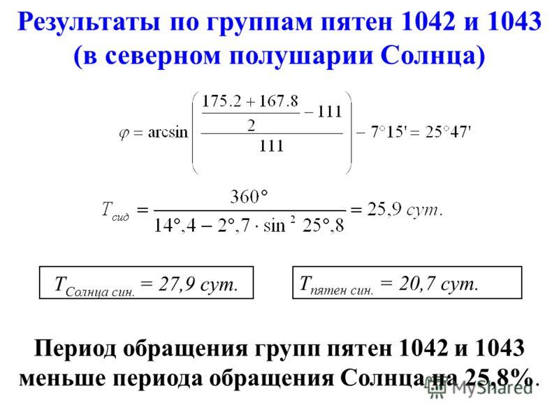 Т Солнца сын. = 27,9 сут. Результаты по группам пятен 1042 и 1043 (в северном полушарии Солнца) Период обращения групп пятен 1042 и 1043 меньше периода обращения Солнца на 25,8%. T пятен сын. = 20,7 сут.