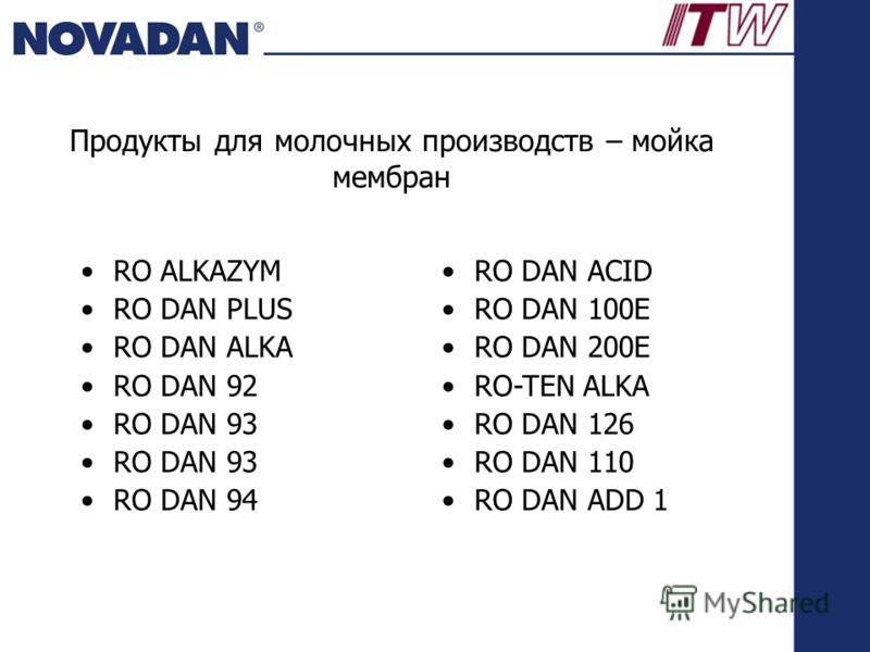 Продукты для молочных производств – мойка мембран RO ALKAZYM RO DAN PLUS RO DAN ALKA RO DAN 92 RO DAN 93 RO DAN 94 RO DAN ACID RO DAN 100E RO DAN 200E RO-TEN ALKA RO DAN 126 RO DAN 110 RO DAN ADD 1