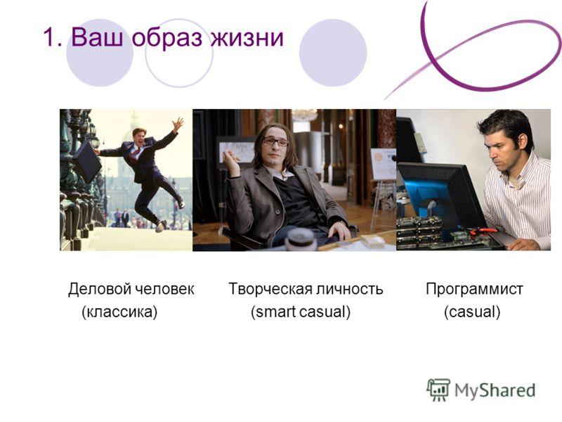 1. Ваш образ жизни Деловой человек Творческая личность Программист (классика) (smart casual) (casual)