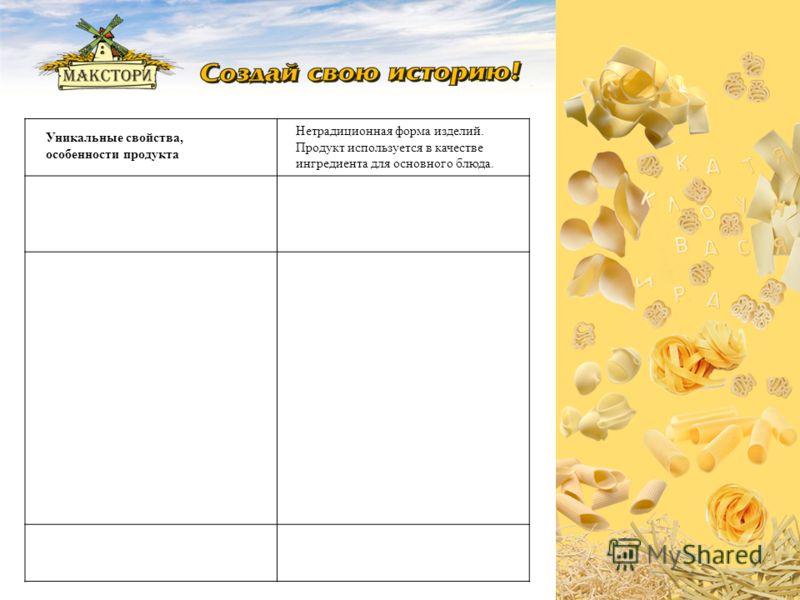 Уникальные свойства, особенности продукта Нетрадиционная форма изделий. Продукт используется в качестве ингредиента для основного блюда.