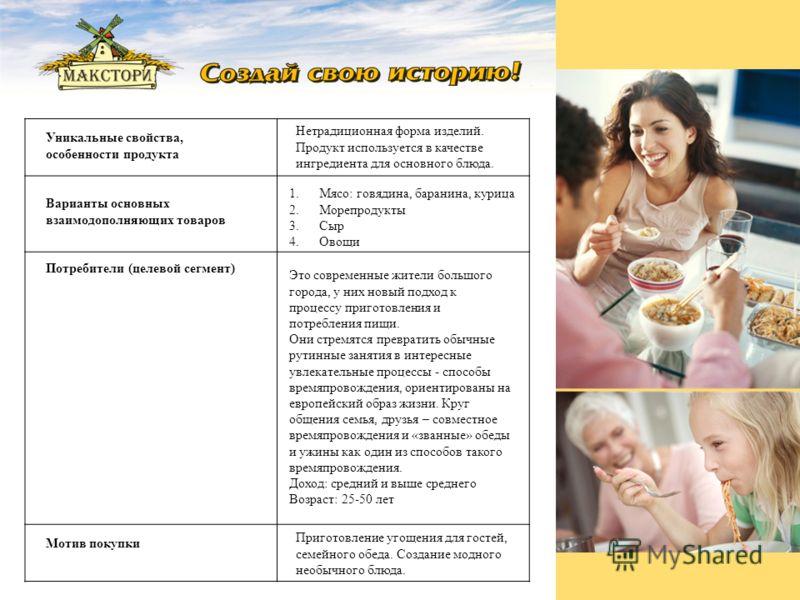 Уникальные свойства, особенности продукта Нетрадиционная форма изделий. Продукт используется в качестве ингредиента для основного блюда. Варианты основных взаимодополняющих товаров 1.Мясо: говядина, баранина, курица 2. Морепродукты 3. Сыр 4. Овощи По