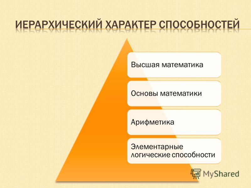 Высшая математика Основы математики Арифметика Элементарные логические способности