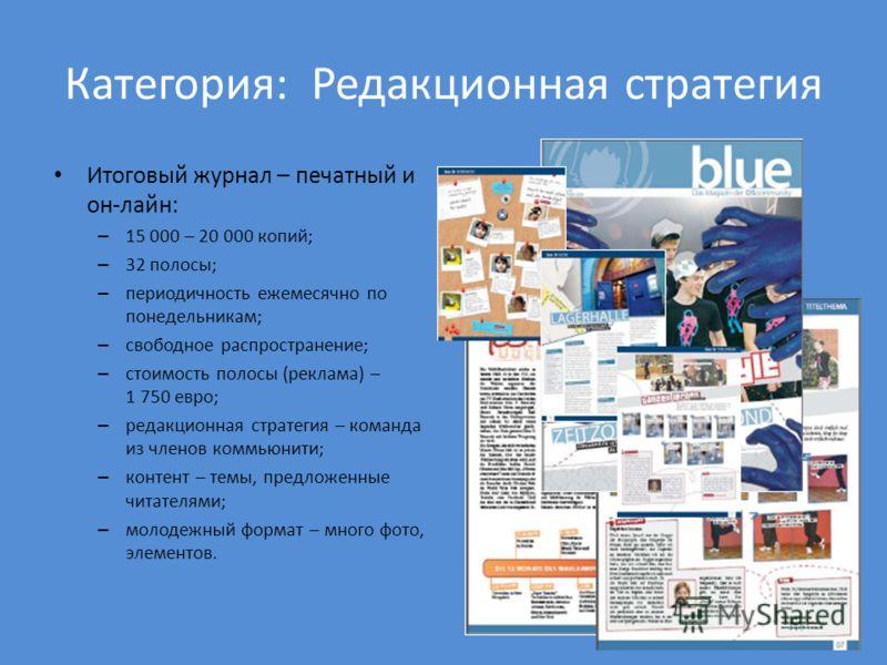 Категория: Редакционная стратегия Итоговый журнал – печатный и он-лайн: – 15 000 – 20 000 копий; – 32 полосы; – периодичность ежемесячно по понедельникам; – свободное распространение; – стоимость полосы (реклама) – 1 750 евро; – редакционная стратеги