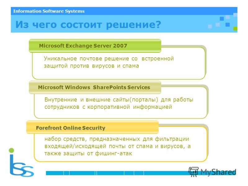 Information Software Systems Microsoft Exchange Server 2007 Microsoft Windows SharePoints Services Forefront Online Security Forefront Online Security Уникальное почтовые решение со встроенной защитой против вирусов и спама набор средств, предназначе