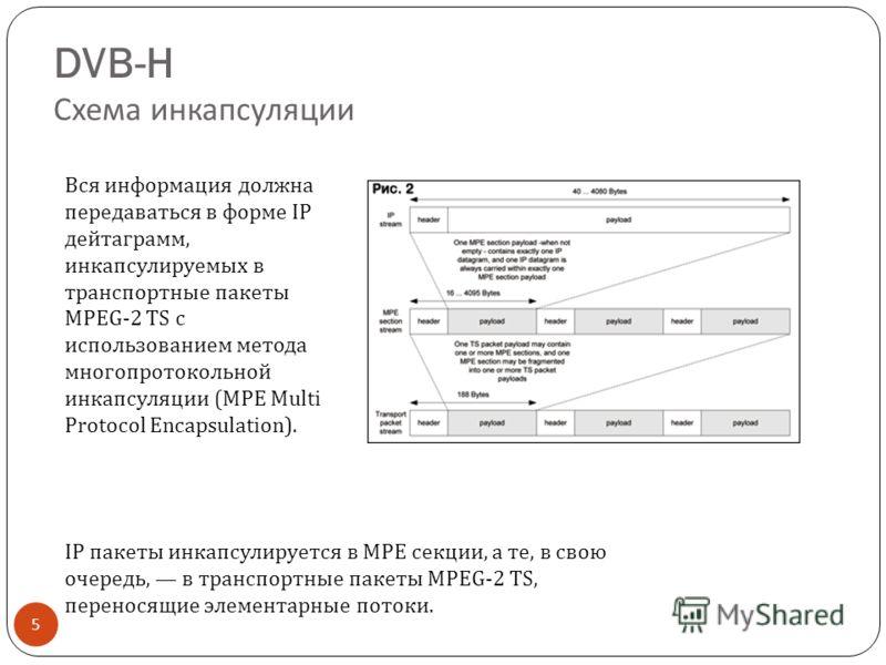 DVB-H Схема инкапсуляции 5 IP пакеты инкапсулируется в MPE секции, а те, в свою очередь, в транспортные пакеты MPEG-2 TS, переносящие элементарные потоки. Вся информация должна передаваться в форме IP дейтаграмм, инкапсулируемых в транспортные пакеты