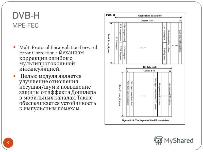 DVB-H MPE-FEC 9 Multi Protocol Encapsulation Forward Error Correction - механизм коррекции ошибок с мульти протокольной инкапсуляцией. Целью модуля является улучшение отношения несущая / шум и повышение защиты от эффекта Допплера в мобильных каналах.