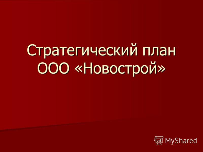 Стратегический план ООО «Новострой»