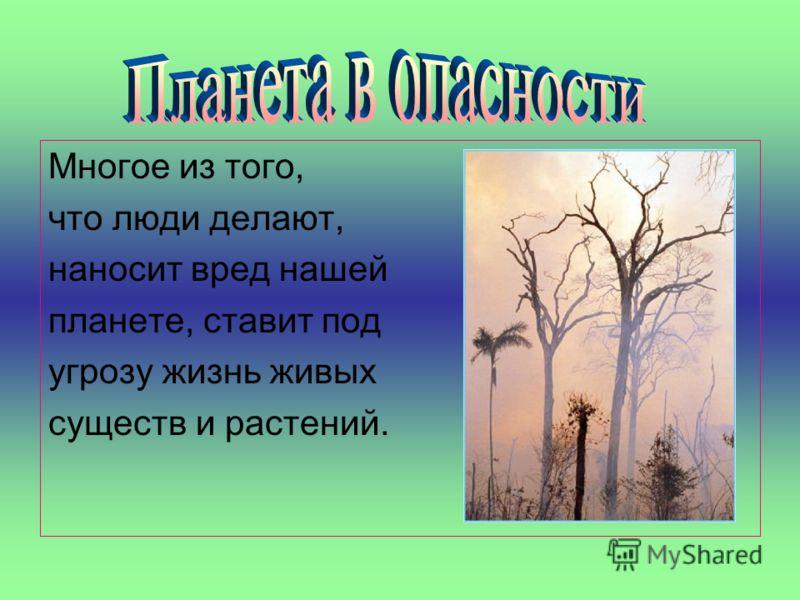 Многое из того, что люди делают, наносит вред нашей планете, ставит под угрозу жизнь живых существ и растений.