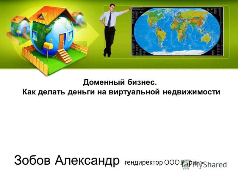 Зобов Александр гендиректор ООО «Грин» Доменный бизнес. Как делать деньги на виртуальной недвижимости