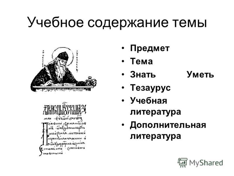 Учебное содержание темы Предмет Тема Знать Уметь Тезаурус Учебная литература Дополнительная литература