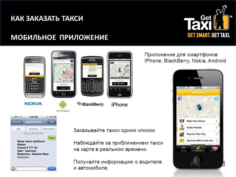 Приложение для смартфонов IPhone, BlackBerry, Nokia, Android Заказывайте такси одним кликом. Наблюдайте за приближением такси на карте в реальном времени. Получайте информацию о водителе и автомобиле. КАК ЗАКАЗАТЬ ТАКСИ МОБИЛЬНОЕ ПРИЛОЖЕНИЕ