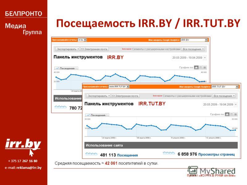 + 375 17 267 16 80 e-mail: reklama@irr.by Посещаемость IRR.BY / IRR.TUT.BY Средняя посещаемость 42 061 посетителей в сутки. IRR.BY IRR.TUT.BY Проект «ИЗ РУК В РУКИ on-line»