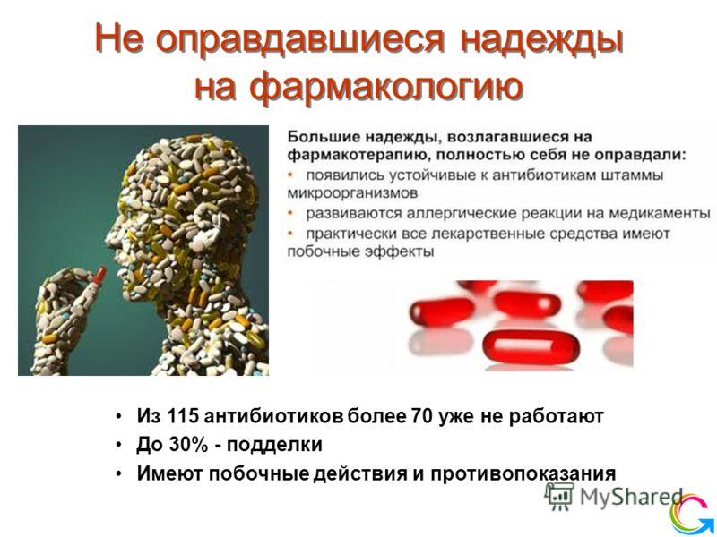 Новое качество жизни Не оправдавшиеся надежды на фармакологию Из 115 антибиотиков более 70 уже не работают До 30% - подделки Имеют побочные действия и противопоказания