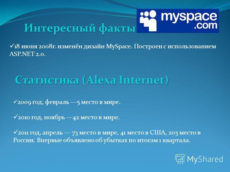 18 июня 2008 г. изменён дизайн MySpace. Построен с использованием ASP.NET 2.0. Интересный факты 2009 год, февраль 5 место в мире. 2010 год, ноябрь 42 место в мире. 2011 год, апрель 73 место в мире, 41 место в США, 203 место в России. Впервые объявлен
