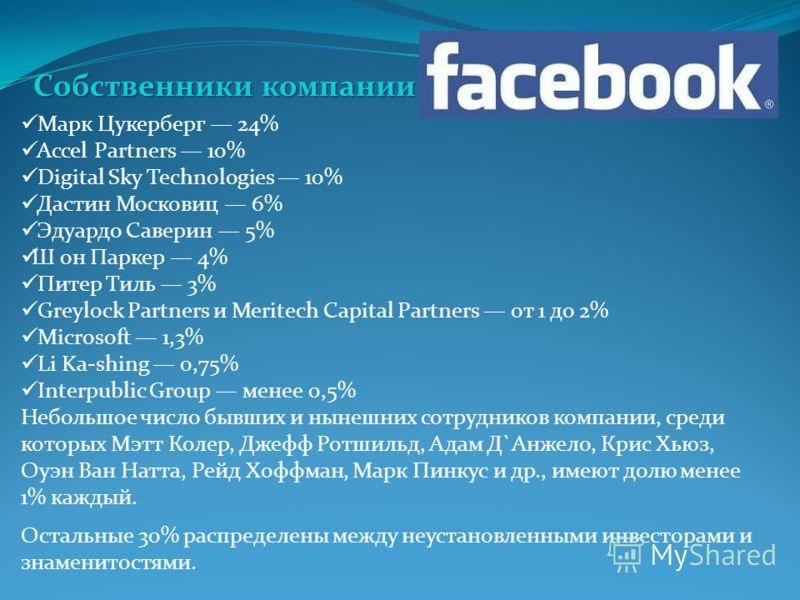 Марк Цукерберг 24% Accel Partners 10% Digital Sky Technologies 10% Дастин Московиц 6% Эдуардо Саверин 5% Ш он Паркер 4% Питер Тиль 3% Greylock Partners и Meritech Capital Partners от 1 до 2% Microsoft 1,3% Li Ka-shing 0,75% Interpublic Group менее 0,