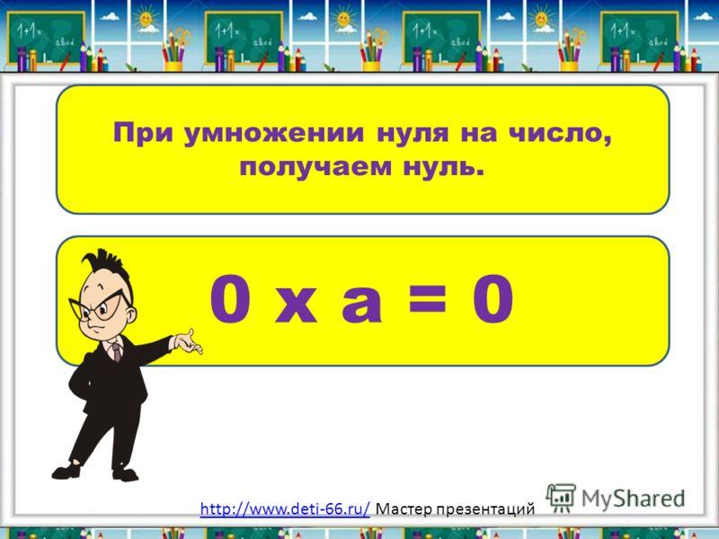 При умножении нуля на число, получаем нуль. 0 х а = 0 http://www.deti-66.ru/http://www.deti-66.ru/ Мастер презентаций