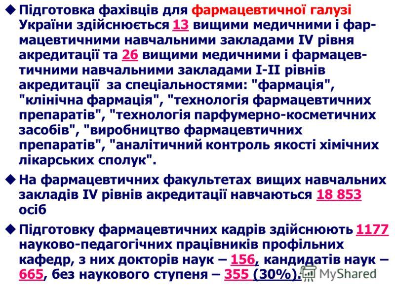 uПідготовка фахівців для фармацевтичної галузі України здійснюється 13 вищими медичними і фар- мацевтичними навчальними закладами ІV рівня акредитації та 26 вищими медичними і фармацев- тичними навчальними закладами І-ІІ рівнів акредитації за спеціал