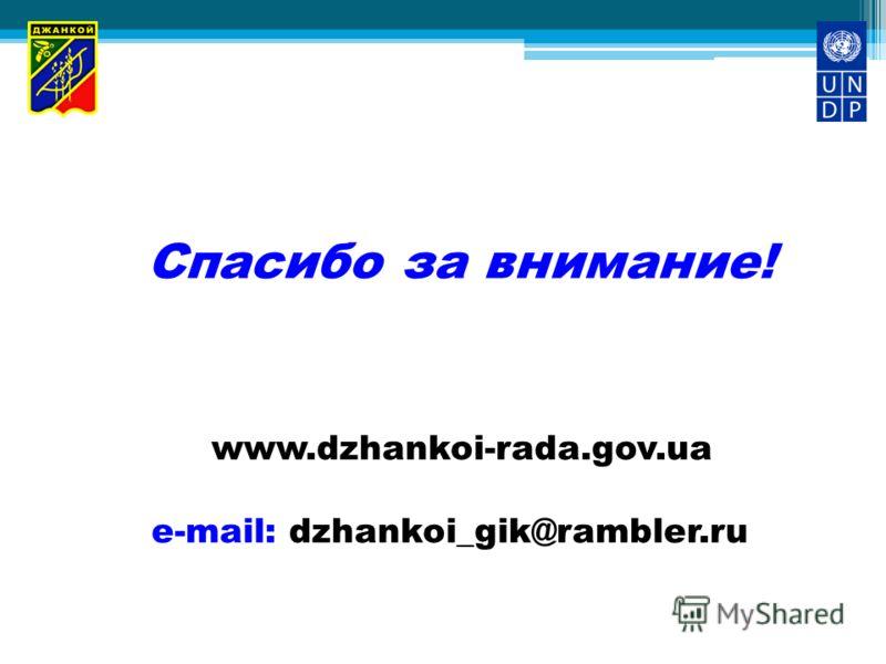 Спасибо за внимание! www.dzhankoi-rada.gov.ua e-mail: dzhankoi_gik@rambler.ru