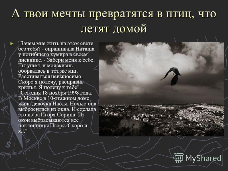 А твои мечты превратятся в птиц, что летят домой