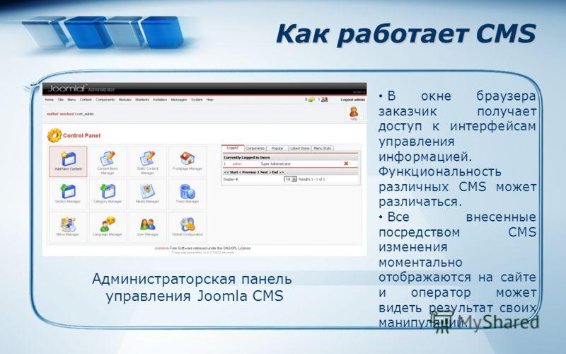 Как работает CMS В окне браузера заказчик получает доступ к интерфейсам управления информацией. Функциональность различных CMS может различаться. Все внесенные посредством CMS изменения моментально отображаются на сайте и оператор может видеть резуль