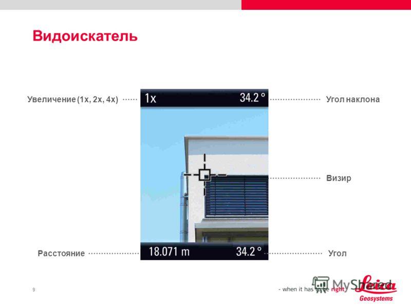 9 Видоискатель Увеличение (1x, 2x, 4x) Расстояние Угол наклона Визир Угол