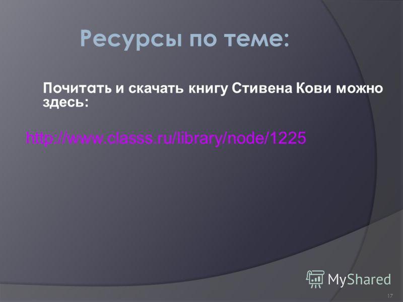 17 Ресурсы по теме: Почитать и скачать книгу Стивена Кови можно здесь: http://www.classs.ru/library/node/1225