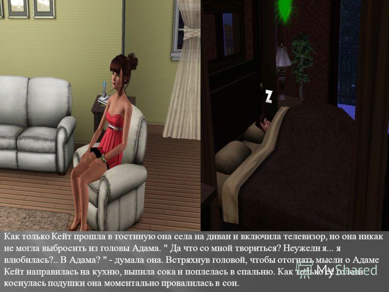 Как только Кейт прошла в гостиную она села на диван и включила телевизор, но она никак не могла выбросить из головы Адама.