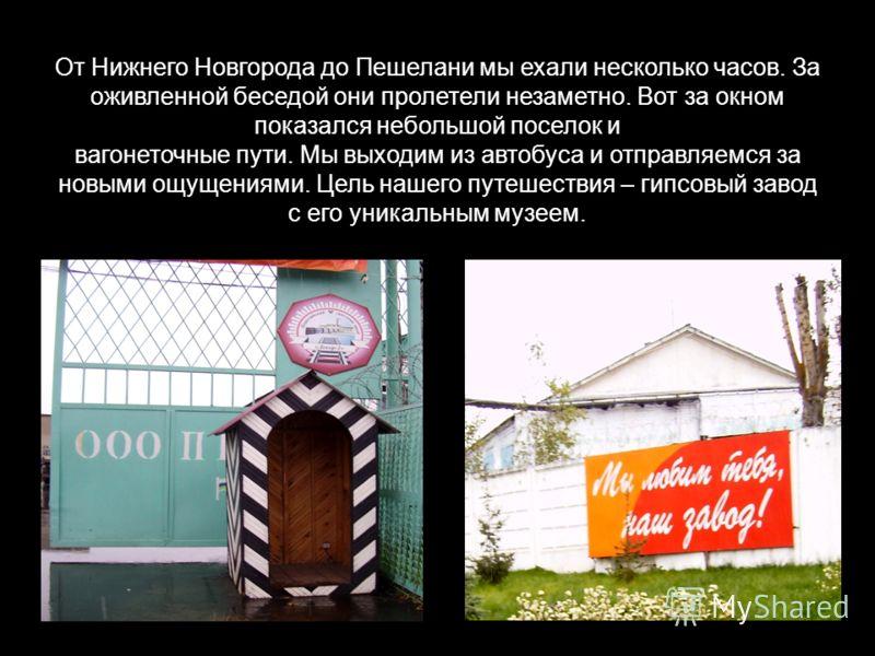 От Нижнего Новгорода до Пешелани мы ехали несколько часов. За оживленной беседой они пролетели незаметно. Вот за окном показался небольшой поселок и вагонеточные пути. Мы выходим из автобуса и отправляемся за новыми ощущениями. Цель нашего путешестви