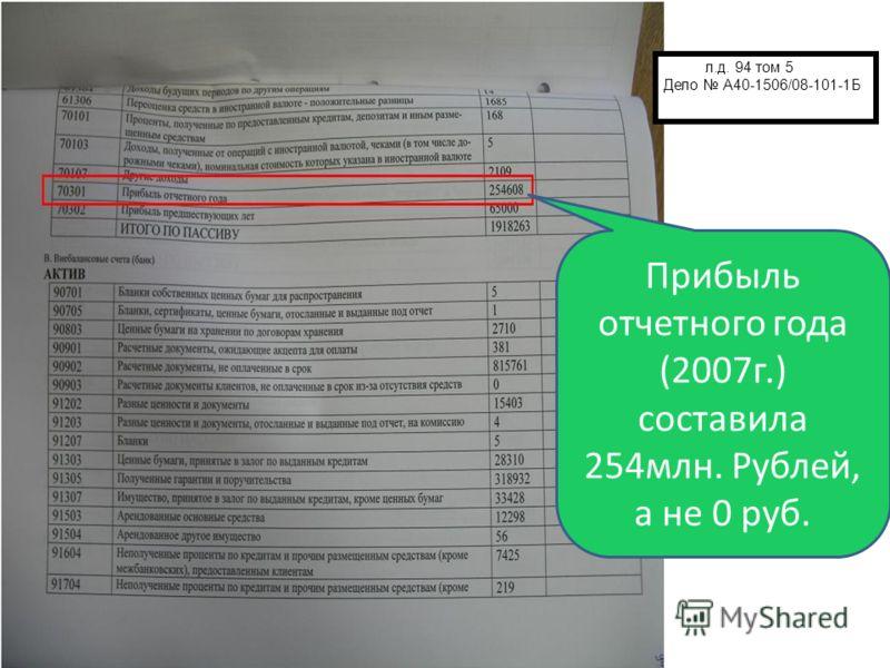 Прибыль отчетного года (2007 г.) составила 254 млн. Рублей, а не 0 руб. л.д. 94 том 5 Дело А40-1506/08-101-1Б