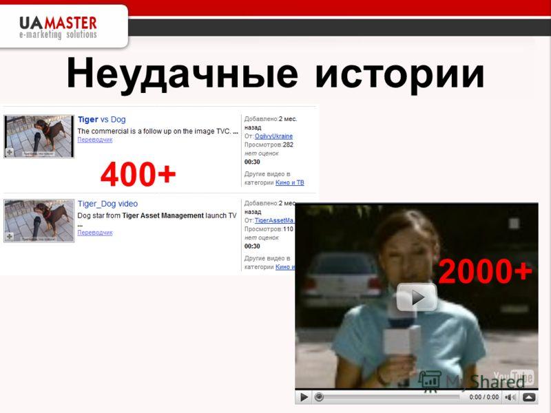 Неудачные истории 400+ 2000+