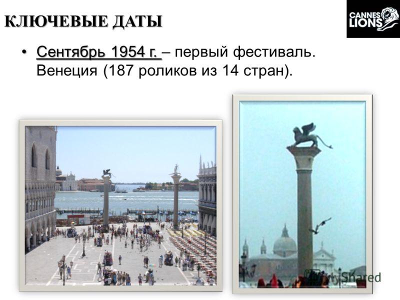 Сентябрь 1954 г.Сентябрь 1954 г. – первый фестиваль. Венеция (187 роликов из 14 стран). КЛЮЧЕВЫЕ ДАТЫ